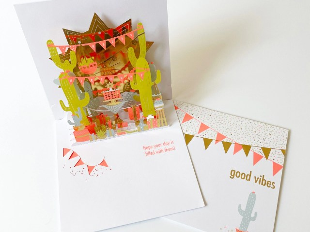 American Greetings Good Vibes Cactus Pop-Up Birthday Greeting Card with Foil