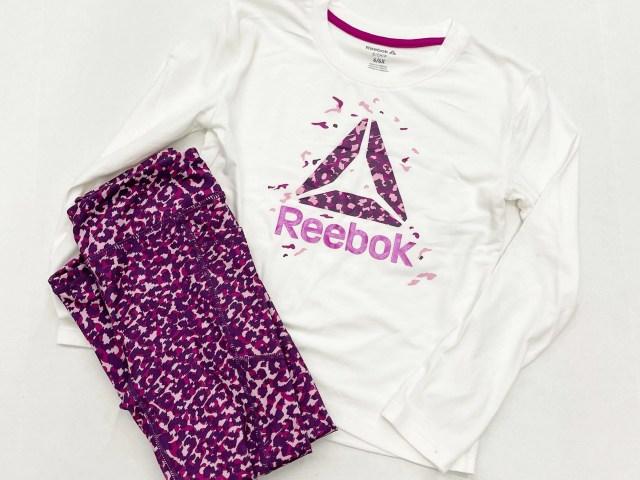 Reebok Girls Graphic Long Sleeve T-Shirt and Leopard Leggings