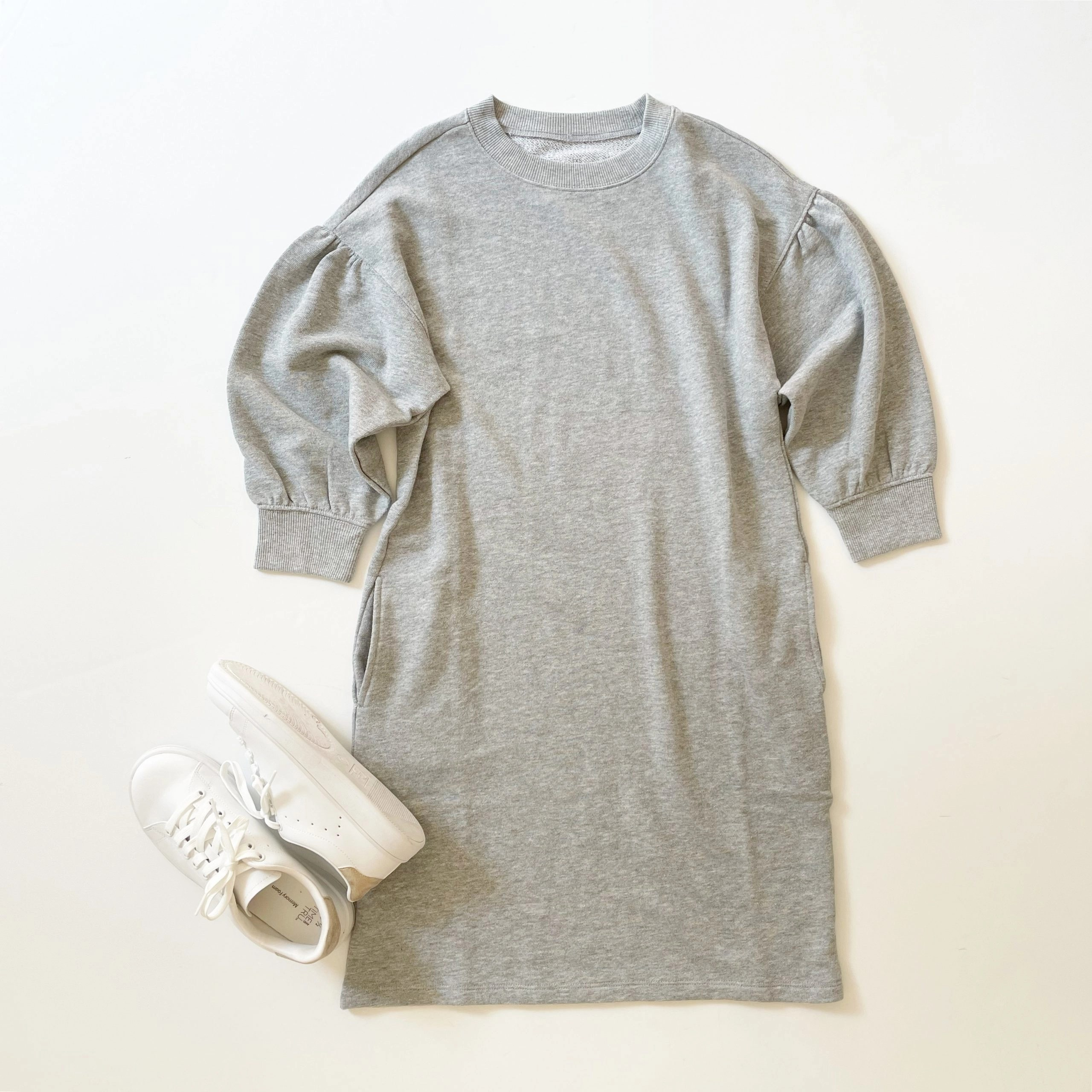 Time and True Women's Sweatshirt Dress and Classic Court Sneakers