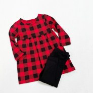 Wonder Nation Girls Red Buffalo Plaid Dress with Long Sleeves