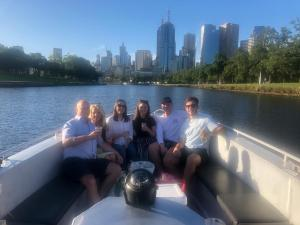 Boat trip down the Yarra river with Sophie's parents.