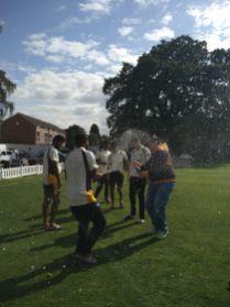 Club Chairman Martin Hoffman gets soaked