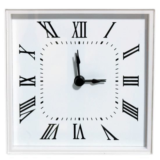 White Wall Clock Large Square Bezel (roman) - White | Walnut Hollow - Craft