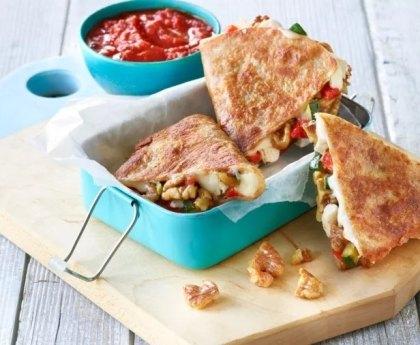 Walnut, Vegetable and Chicken Quesadillas