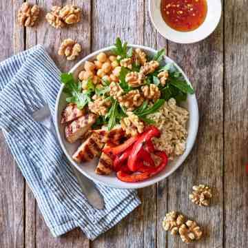 Thai Walnut BBQ Chicken Bowl