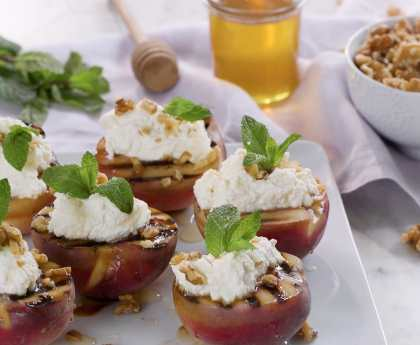 Grilled Peaches with Ricotta Walnuts and Honey