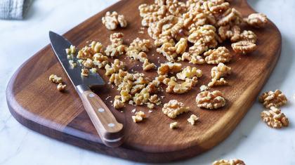 walnut on cutting board
