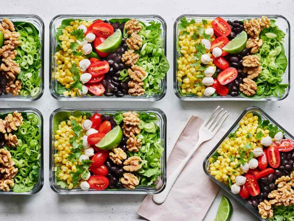 Corn Tomato Black Bean Walnut Salad Bowls