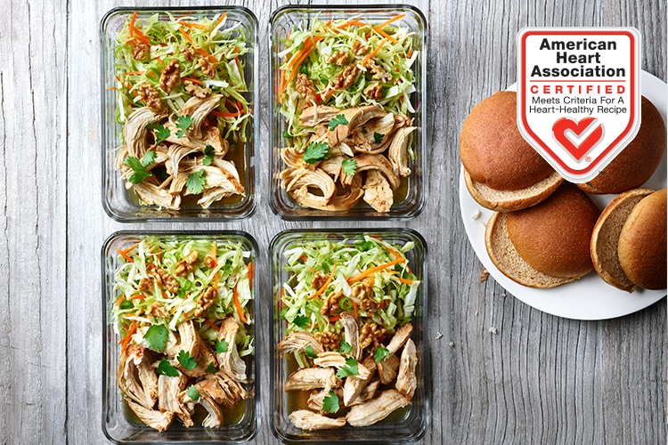 Slow Cooked Asian Pulled Chicken with Honeyed Walnut Coleslaw