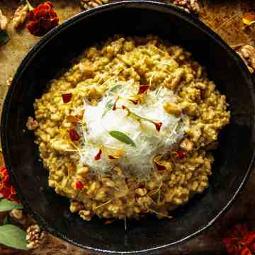 Pumpkin Walnut Sage Risotto