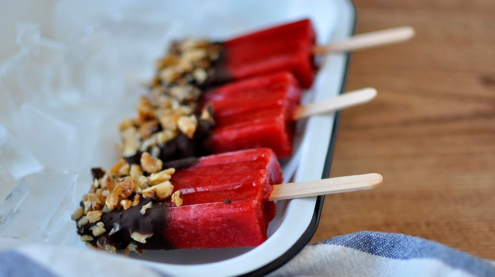 Chocolate Walnut Dipped Popsicles