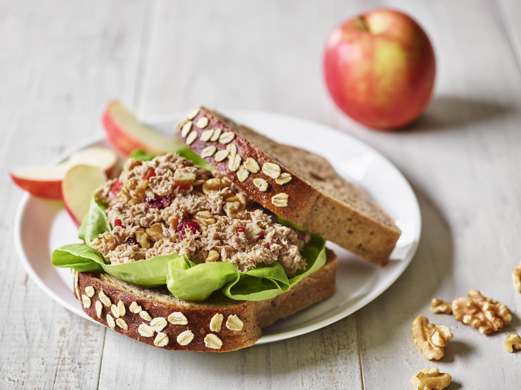 Tuna Salad Sandwich with Apples and Walnuts