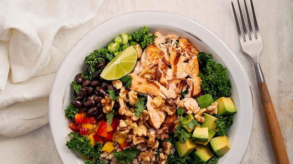 Salmon, Walnut and Avocado Grain Bowl