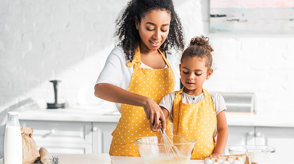 Mother Daughter Cooking Together