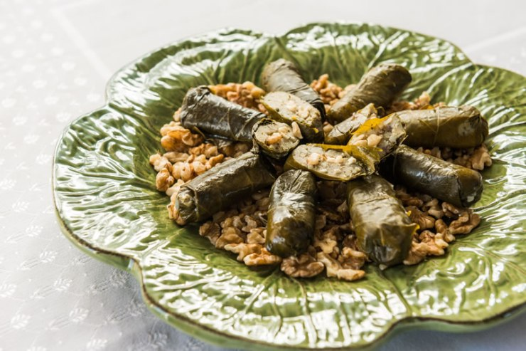 Walnut Dolmades made from preserved vine leaves, walnuts and rice.