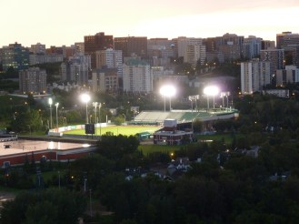 Telus field with blinding lights.
