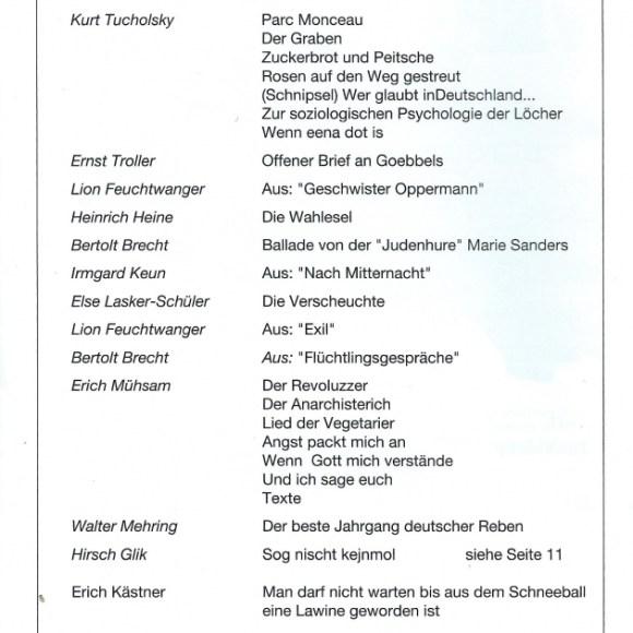 """Programmheft """"De verbrannten Dichter"""" von Walter Stapper, Seite 2"""