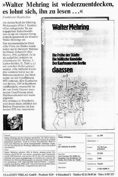 Walter Mehring: Die höllische Komödie - Drei Dramen