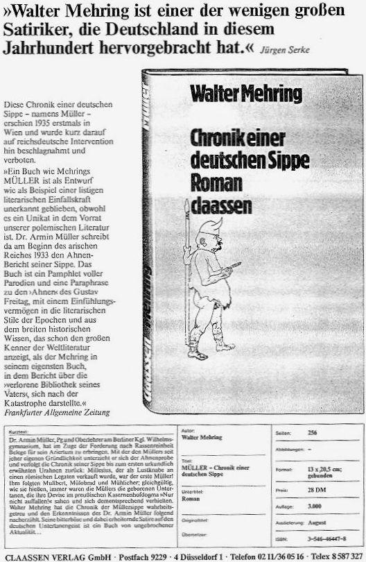 Walter Mehring: Müller- Chronik einer deutschen Sippe
