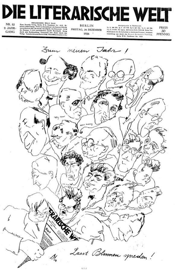 Karikaturen von Schriftstellern in der Liuterarischen Welt