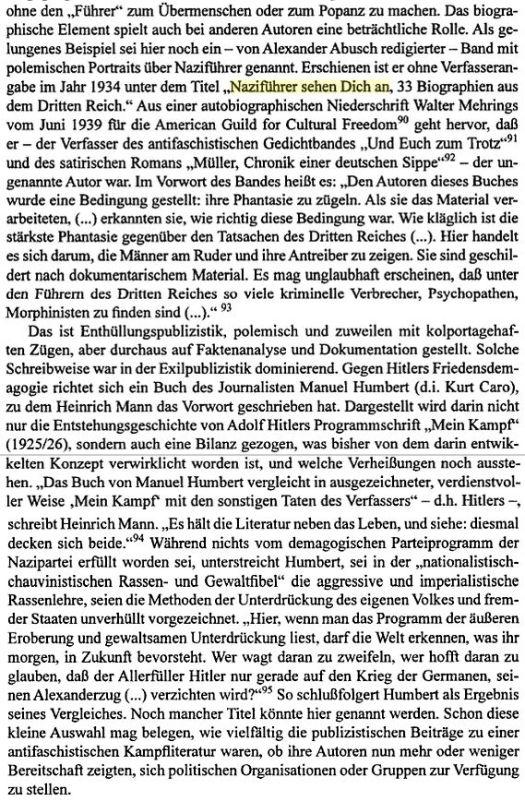 Auszug aus Dieter Schiller: Der Traum von Hitlers Sturz: Studien zur deutschen Exilliteratur 1933-1945