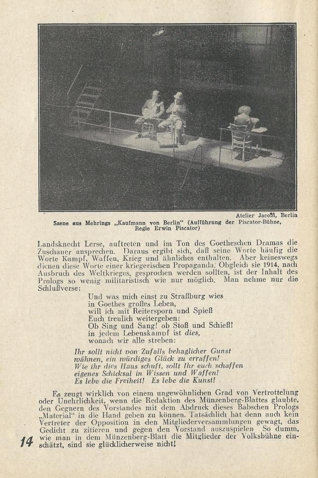 """Szene aus Mehrings """"Kaufmann von Berlin"""""""