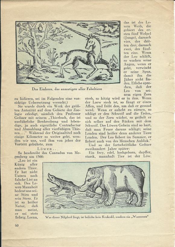 Walter Mehring: Zoologie vor 400 Jahren; erschienen in: Der Uhu, Februar 1929, S. 60