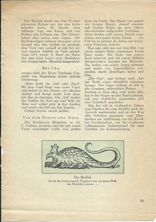 Walter Mehring: Zoologie vor 400 Jahren; erschienen in: Der Uhu, Februar 1929, S. 63