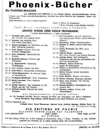 Anzeige im Neuen Tage Buch vom 16. November 1935
