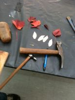 Cutting the forms in 1mm copper sheet, the leaves are the inspiration for the colours Noelle will achieve with heat.
