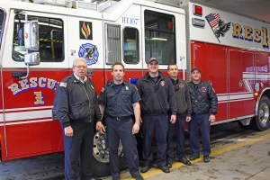 Chief Ciccone with one of Rescue 1's crew Capt. Paul Quaranto, Kieth Tower, Jeff Ciccone and Tom Bower