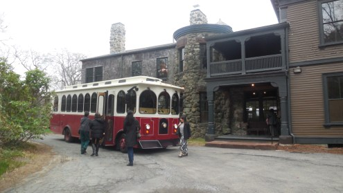 Boarding the Waltham Trolley at Stonehurst Estate