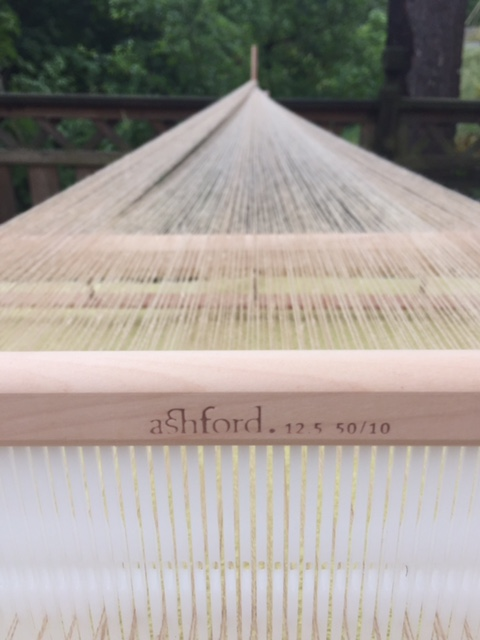 A rigid heddle loom warp