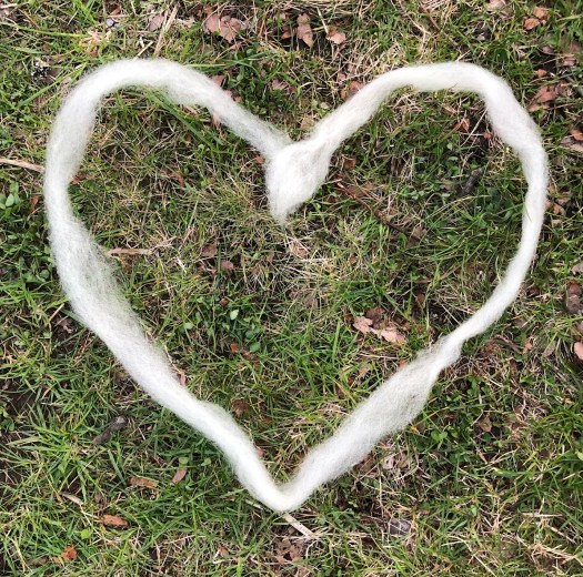A heart of wool in the grass