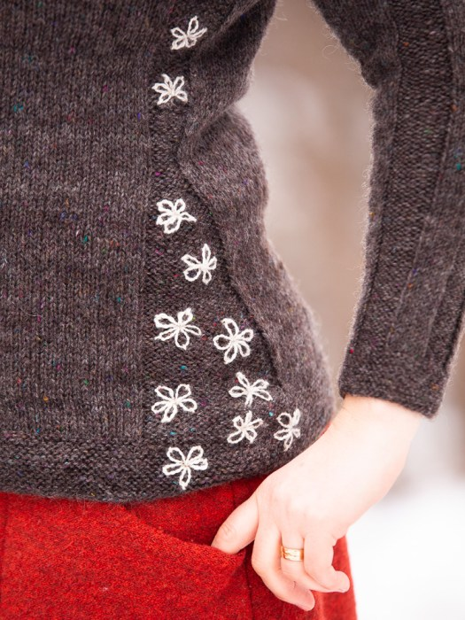 Close-up of a grey sweater with embroidered flowers.