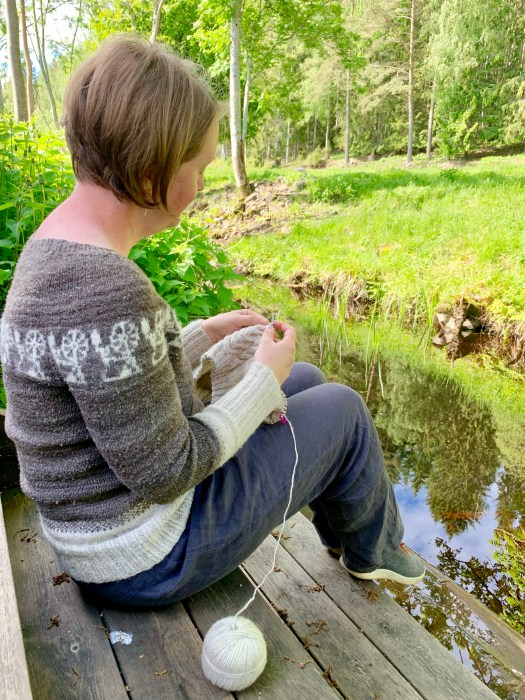 Knitting by the creek.