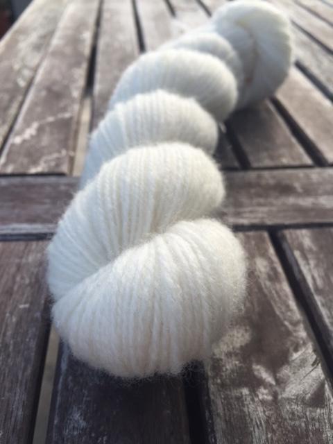 A skein of white yarn.