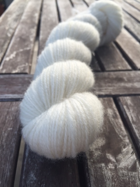 A skein of white yarn.
