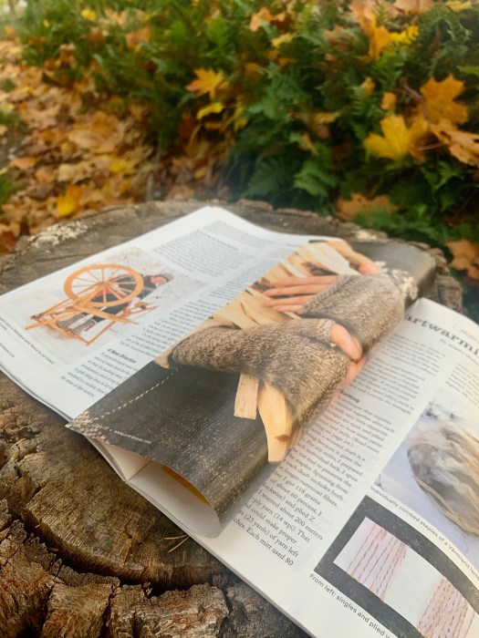 An open magazine showing an article with pictures of a Pinner and a pair of mittens.