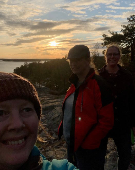 Josefin, Boel and Ellinor on a wool journey walk