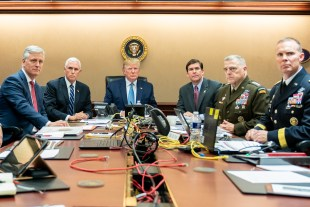 President Trump and advisors watch the raid from the War room.