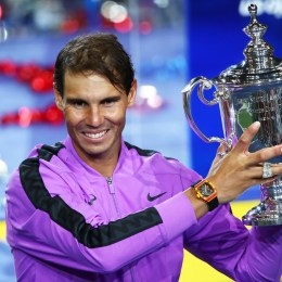 Rafael Nadal with his U.S. Open Trophy