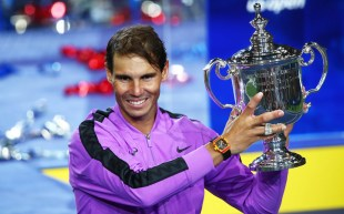 Rafael Nadal with his U.S. Open Trophy