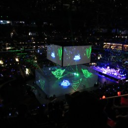 Above is a photograph of the 2016 tournament of League of Legends, a popular video game.