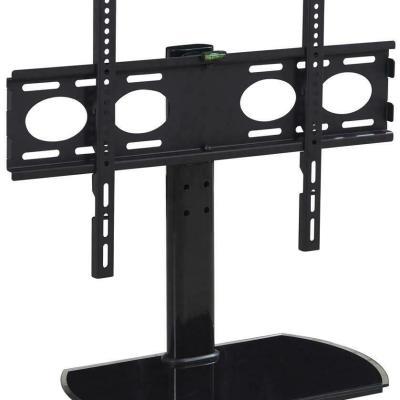 TTAP PED64S Black Glass Swivel Tabletop Pedestal TV Stand