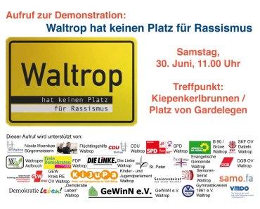 Demonstration: Waltrop hat keinen Platz für Rassismus
