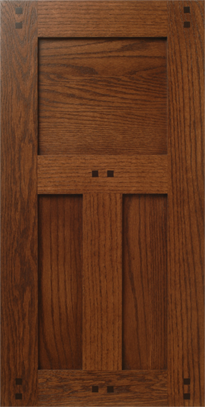 Craftsman Style Red Oak Wood Cabinet Door with Pegs