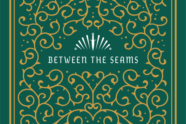 """Ornamental logo that reads """"Between the Seams"""""""