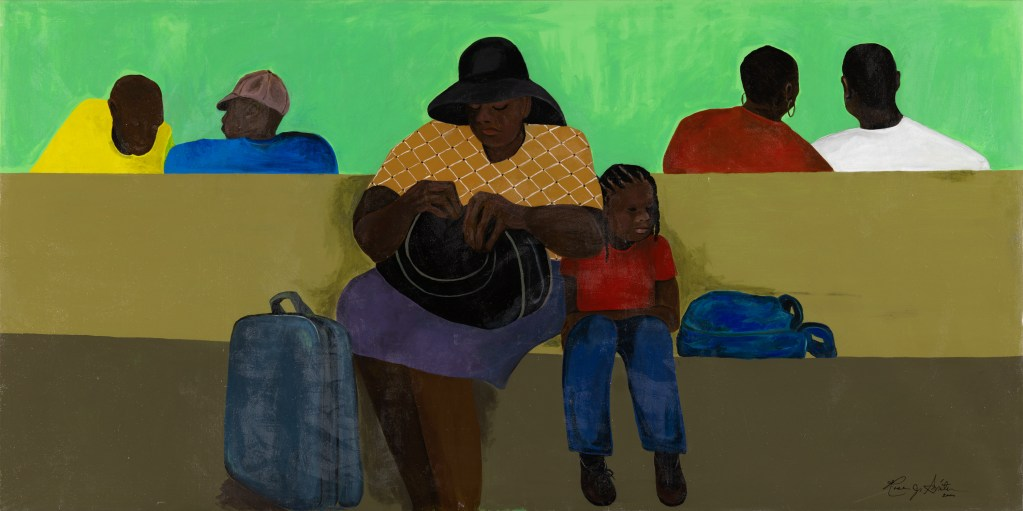 Painting by artist Rose Smith. Mother and child sit on a bench with luggage at the mother's feet. Other figures wait in the transit hub in the background.