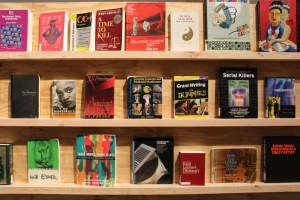 """A display of book covers on a wooden shelf representing a selection of disapproved books; titles include """"Grant Writing for Dummies,"""" """"Trans Bodies, Trans Selves,"""" and """"No Disrespect"""" by Sister Souljah"""